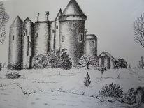 Burg, Heidenreichstein, Tuschmalerei, Zeichnungen