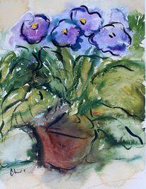 Pflanzen, Blumen, Blumentopf, Aquarell