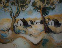 Mecklenburg, Haus, Landschaft, Malerei