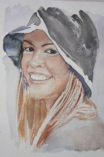 Aquarellmalerei, Portrait, Aquarell, Mädchen