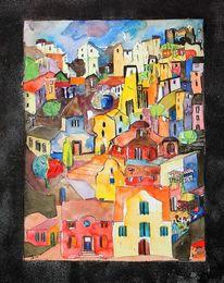 Häuser, Stadt, Stadtlandschaft, Aquarell