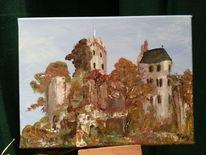 Acrylmalerei, Eifel kasselburg, Malerei