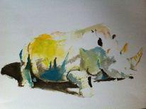 Nashorn, Farben, Malerei