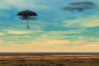 Schwarze wolken, Kopfschmerz, Wüste, Digitale kunst