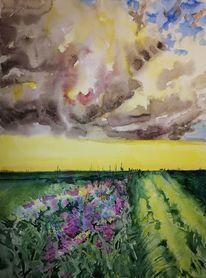 Feld, Blumen, Sturm, Aquarell