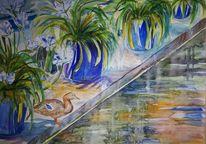 Ente, Agapanthus, Wasser, Aquarell