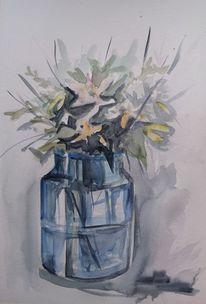 Glas, Blumen, Vase, Aquarell