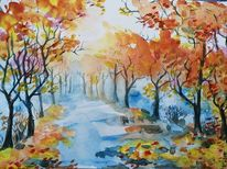 Herbst, Allee, Laub, Aquarell