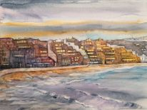 Playa, Strand, Aquarell