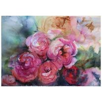 Rose, Aquarell,