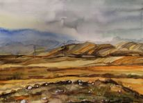 Steppe, Stein, Aquarell,