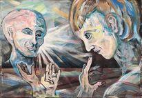 Hände, Kopf, Ertrinkende, Malerei
