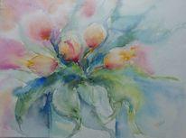 Tulpen, Vase, Aquarell,