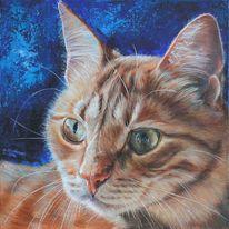 Katze, Katzenportrait, Acrylmalerei, Tierportrait