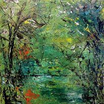 Natur, Baum, Acrylmalerei, Menschen