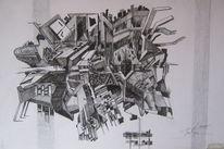 Stadt, Zeichnung, Graffiti, Pop art
