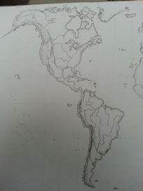 Welt, Landschaft, Karte, Bleistiftzeichnung