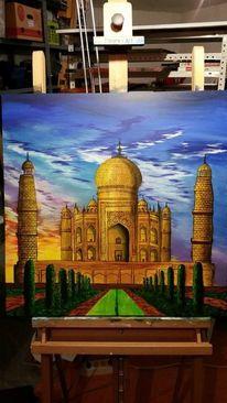 Taj mahal, Weltwunder, Landschaft, Acrylmalerei