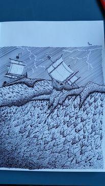 Schiff, Zeichnung, Welle, Sturm