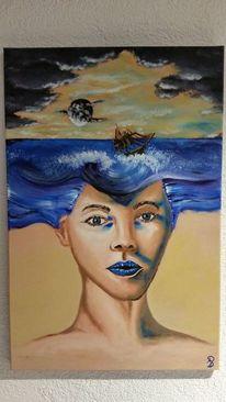 Welle, Malen, Landschaft, Portrait