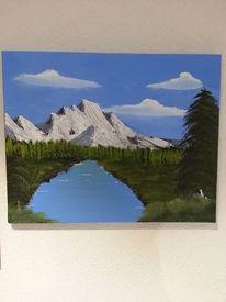 Tanne, Landschaft, Acrylmalerei, See