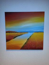 Landschaft, Fluss, Acrylmalerei, Farben