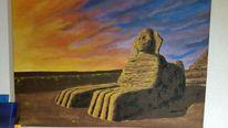 Landschaft, Abendstimmung, Stein, Sphynx in aegypten