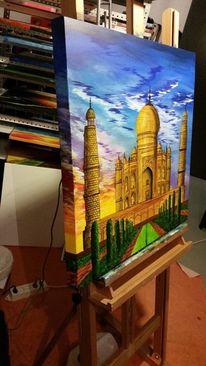 Weltwunder, Acrylmalerei, Taj mahal, Indien