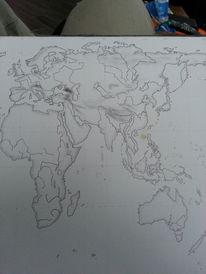 Welt, Bleistiftzeichnung, Landschaft, Zeichnungen