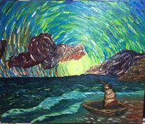 Leinen, Landschaft, Ölmalerei, Meer