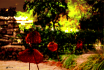 Baum, Ente, Metallvögel, Sonnenuntergang