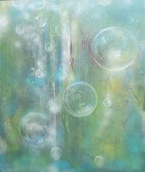 Abstrakt, Blase, Begegnung, Grün