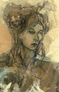 Wasserfarben, Portrait, Frau, Mode