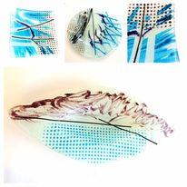 Bunt, Glas, Glasschale, Modern