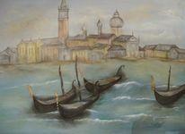 Gondel, Acrylmalerei, Landschaft venedig, Malerei