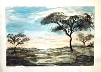 Afrika, Tagesbeginn, Aquarellmalerei, Entspannen