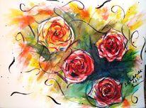 Aquarellmalerei, Rose, Pflanzen, Bunt