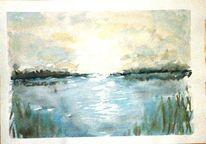 Ruhe, Landschaft natur, Sonnenaufgang, Aquarellmalerei