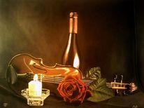 Stillleben, Geige, Malerei