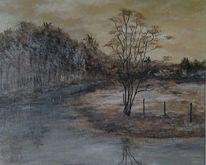 Natur, Fluss, Wiese, Acrylmalerei