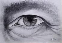 Blick, Schwarzweiß, Augen, Zeichnen
