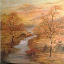 Acrylmalerei, Fluss, Natur, Landschaft