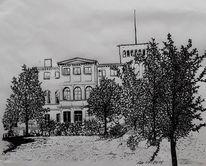 Landschaft, Villa, Baum, Schwarz weiß