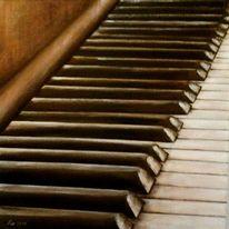 Acrylmalerei, Klaviertasten, Alt, Gegenständlich