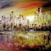 Acrylmalerei, Wasser, Landschaft, Architektur