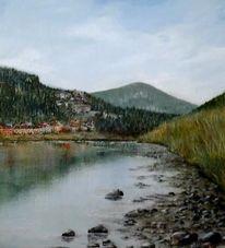 Häuser, Acrylmalerei, Berge, Elbsandstein