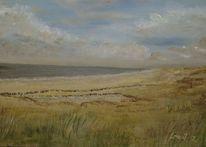 Küste, Acrylmalerei, Strand, See
