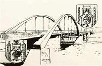 Federzeichnung, Bauwerke, Brücke, Schwarz weiß