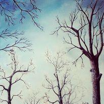 Landschaftsmalerei, Weiß, Himmel, Baum