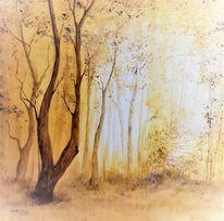 Pflanzen, Landschaftsmalerei, Herbstwald, Baum